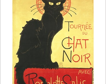 Steinlen - Le Chat Noir black cat vintage poster art print in choice of sizes