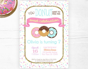 Donut Party Invitation, Donut Birthday Printable Invitation, Pink Donuts, Doughtnut Party Invite, Girl First Birthday, Sprinkles
