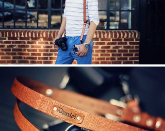 Custom Double Camera Harness, Dual Camera Harness Real Leather Multicamera Strap, Handmade , Adjustable, Custom name initials, Aztec Tribal