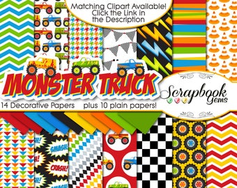 "MONSTER TRUCK Digital Papers, 24 Pieces, 12"" x 12"", High Quality JPEGs Instant Download pickup truck lightning bolt crash smash checker flag"