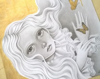 ON SALE 50% Discount, Original Mixed Media Painting, Surreal Graphite Drawing with Gold Paint, Romantic Fantasy Art, Golden Wings