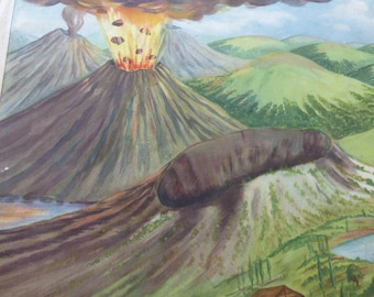 school poster for child, ROSSIGNOL vintage 1970, GEOGRAPHY  n25, erupting volcano  & n26 : seapage water