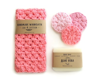 Gift set WOMEN Gifts for Her Gift for Mom Birthday Gift set Mother Gift for Girlfriend Natural Soap Washcloth Face Scrubbies