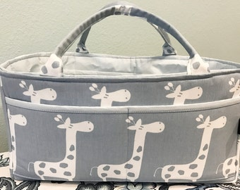 Diaper Caddy Storage Organizer | Baby's room Diapers Bottles | Giraffe Stretch Pink or Blue