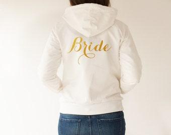 Bride Shirt, Gold Bride Hoodie, Bachelorette Shirts, Bride Jacket, Wifey Shirt, Mrs. Shirt, Bachelorette Party Shirts, Bridesmaid Shirts