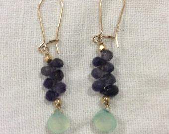 Chalcedony & Iolite Earrings