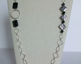 Long Black and Silver Chain Necklace and Earring Set