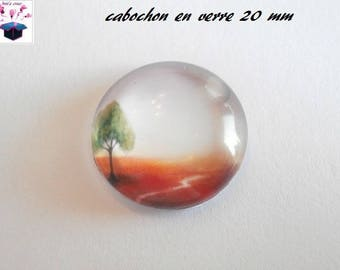 1 cabochon clear 20mm tree fall theme