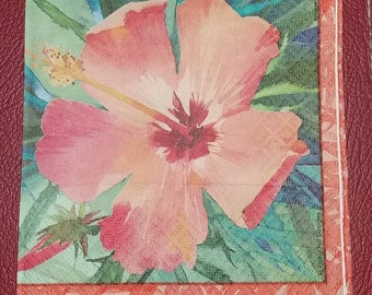 USA Seller ~ Two (2) Paper Napkins for Decoupage FREE SHIP Hibiscus Flower