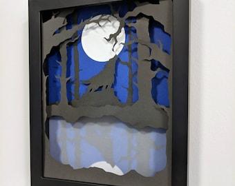 Howling Wolf Paper Art Shadow Box 8x10