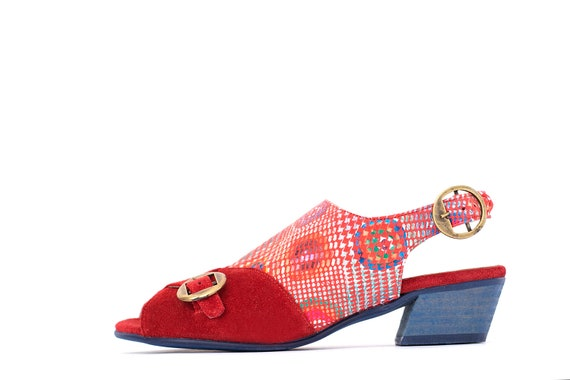 red ADIKILAV sandals a On Handmade Red Sale leather shipping with Sandals buckles Women's Wide Slingback metal free heels q1qwXOI