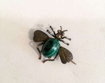 Sterling Fly Brooch. Sterling silver. Malachite. 1940 40s. Hat Pin. Pin. Vintage  jewelry. Collectible bug LA eb