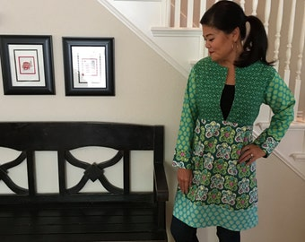 Tunic TOP or DRESS - 3/4 length sleeves - Amy Butler - Dream Weaver - Made in any Size - Boutique Mia by CXV