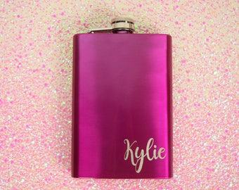 Laser Etched Flask- Initial Flask, In Gift Box, Bridesmaid Gift, Wedding Party Gift, Black Flask, Pink Flask, Girly Flask, Gift Flask, Flask