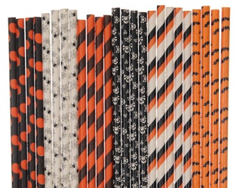 Paper Straw Mix, Halloween Orange Black Striped Polka Dot Bats Spiders Skulls Paper Straws, Haunted House Decor Trick or Treat Fall Carnival