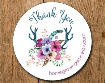 Customized Business Thank You Stickers -  Boho Antlers Floral Flowers - Party - Packaging Display - Thank You Stickers