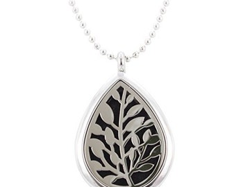 Aromatherapy Leaf Necklace, Essential Oil Diffuser Locket, Stainless Steel, 32 Inch Chain, #6378