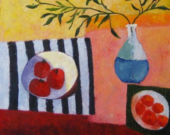 Still life painting with fruits. Striped table. Branches in the blue vase. Bright and positive.
