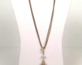 Vintage 1960s Gold Necklace with Pyramid and Pearl Pendant
