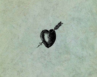 Heart Pierced by Arrow SMALL - Antique Style Clear Stamp