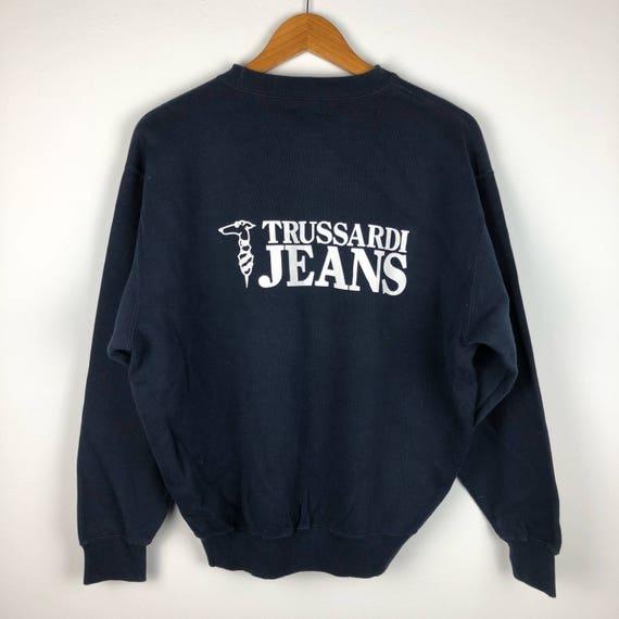 Vintage TRUSSARDI Jumper Pullover Sweatshirt Pocket Trussardi Multicolor Big Logo Spell Out Button Shirt Trussardi Dark Blue Medium Size sSFOO6
