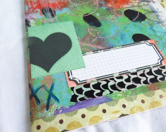 Altered Ikea #2 - Altered journal - blank pages, art paper cover, sketchbook, art journal, mixed media, basic journal, unruled, heart, mess