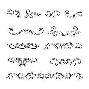 Filigree calligraphic swirls set SVG | Scroll divider, Page decoration | Wedding invitation, Christmas card | Digital cutting file | Vector