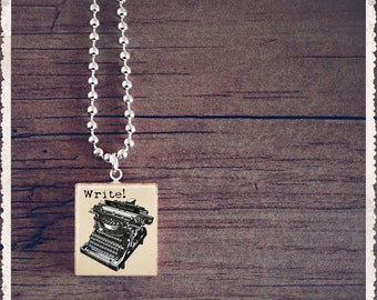 Scrabble Pendant Necklace - Write Typewriter - Scrabble Art Charm - Customize - Wearable Art by Lisa Owens