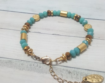 Turquoise Bracelet. Multi Color Bracelet. Gift For Mom. Boho Jewelry . Gift For Her. Gold spacers .Dainty.