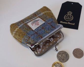 Harris Tweed Coin Purse / Handmade /  Mustard and Blue
