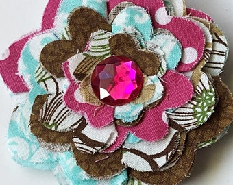Aqua & Brown Flower for Dog or Cat Collar