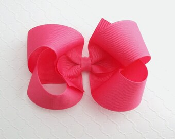 """Large Hot Pink Hair Bow, 5"""" Girls Pink Boutique Hair Bow, Hair Bow, Big Pink Bow, Toddler Hair Bow Clip, Extra Large Hair Bows"""