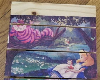 Alice in wonderland wood panel art