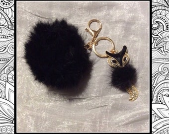 New Black fox cat bling faux fur ball gold keychain clasp