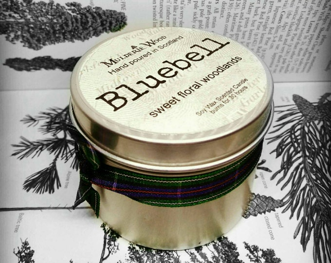 Featured listing image: Sweet Floral Bluebell Scented Soy Wax Handmade in Scotland Tin Candle 30+ hour burn