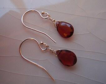 Small Sterling Silver & AAA Mozambique Garnet Pear/Briolette Drop Earrings