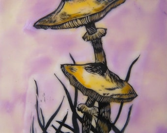 Woodland art OOAK small encaustic painting on board Mushrooms on mauve