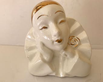 Vintage  Porcelain Gold and Cream Pierrot Clown Figurine-Simson Giftware