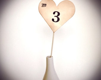 Table Numbers, Heart table number, Wedding, Shower, Table number on a stick
