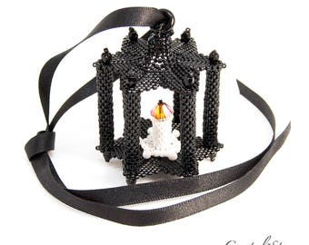 Beading Pattern - Tutorial - PDF download - Lantern - Christmas Ornament - Peyote Stitch - Candle