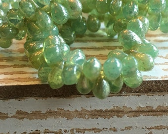 4x6 tiny teardrop beads, green aqua czech beads, 4x6 drops