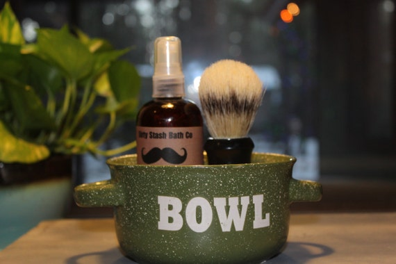 Ceramic Handled Bowl Mens Shave Gift Set Organic Shave Soap Cedarwood & Sage essential oils