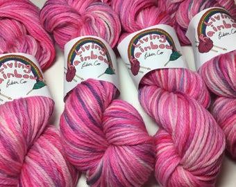 PINK! - hand dyed yarn - 185 yards - hand painted merino yarn - 4 ply worsted weight yarn - pink worsted yarn - knitting supplies