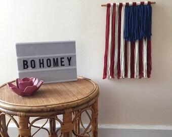 American Flag Yarn Wall Hanging, 4th of July Decor *On Sale*