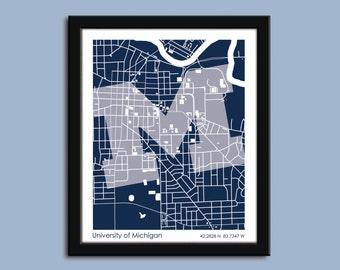 University of Michigan, University wall art poster, U of M decorative map