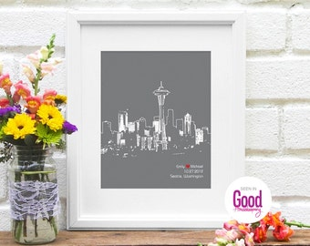 Seattle Skyline, Seattle Couple, Wedding Gift, Engagement Gift, Bridal Shower Gift, Personalized Seattle, First One Year Anniversary Gift