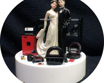 Car AUTO MECHANIC Wedding Cake Topper Key Bride & Groom Tire rack  FUNNY Racing Tire Garage Man Cave Nascar Racing