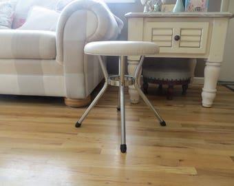Cream and Chrome Vintage Costco Stool Step Stool Footstool Mid Century Furniture
