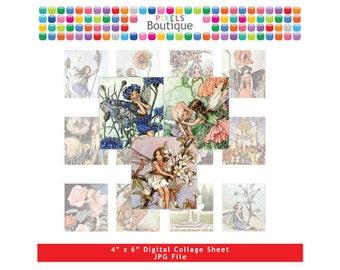 Vintage Fairies Scrabble Tile Images (No. 051) - Digital Collage Sheet Scrabble Size Tiles 0.75 Inch x 0.83 Inch