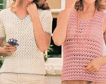 Ladies Blouse And Tank Top, Crochet Pattern. PDF Instant Download.